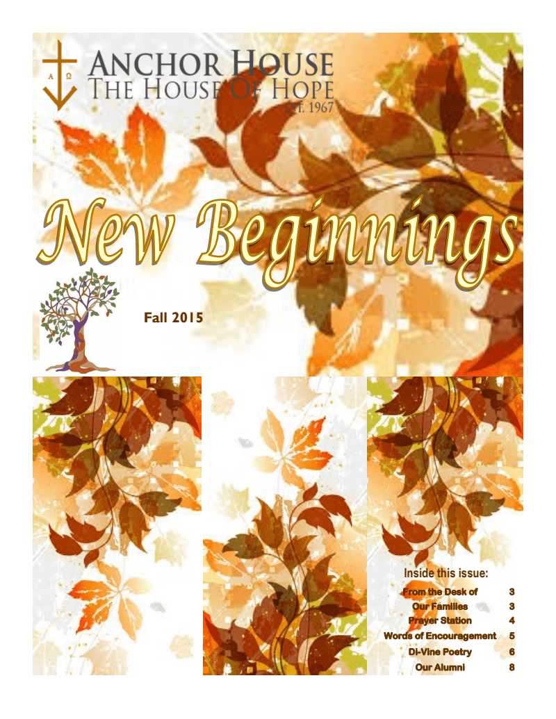 Anchor House Fall 2015 Newsletter